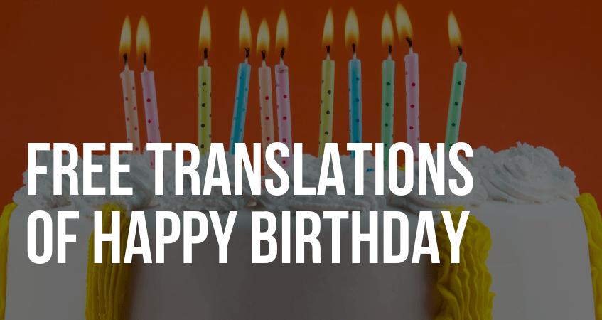 Translation of Happy Birthday