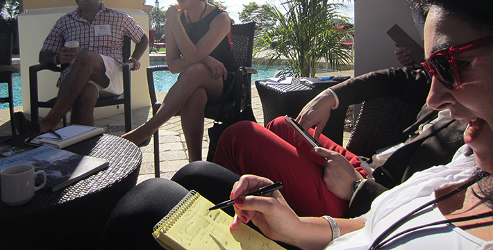 Discussing our business issues by the pool at the ALC Unconference PGA National Resort Florida.