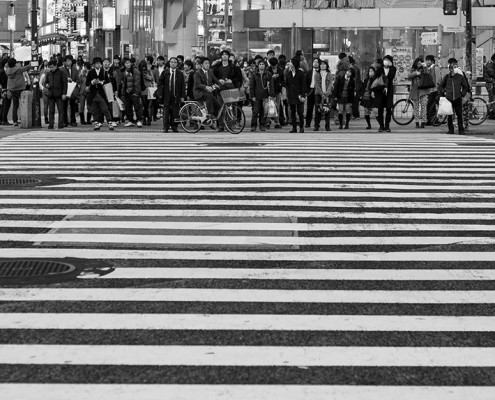 The famous crossing in Shibuya