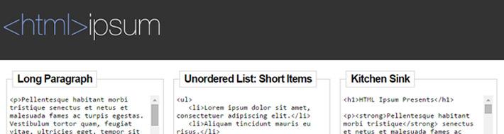 create lorem ipsum in html