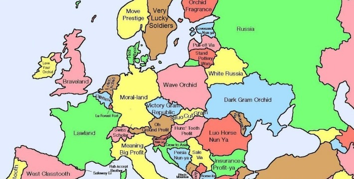 map shows chinese translation of european place names