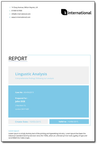 Linguistic Analysis Report