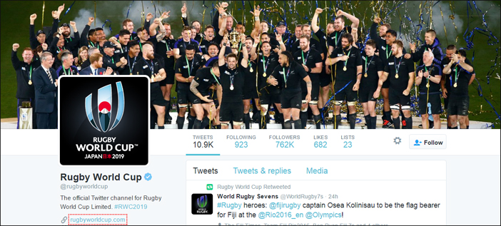 Rugby world cup international social media