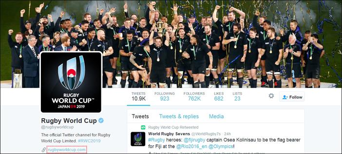 Rugby world cup international social media