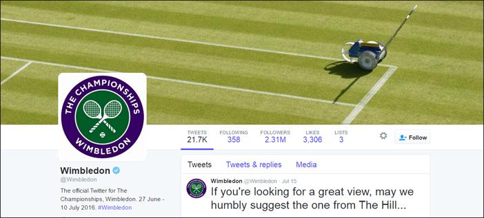 Wimbledon Social Media channel translation