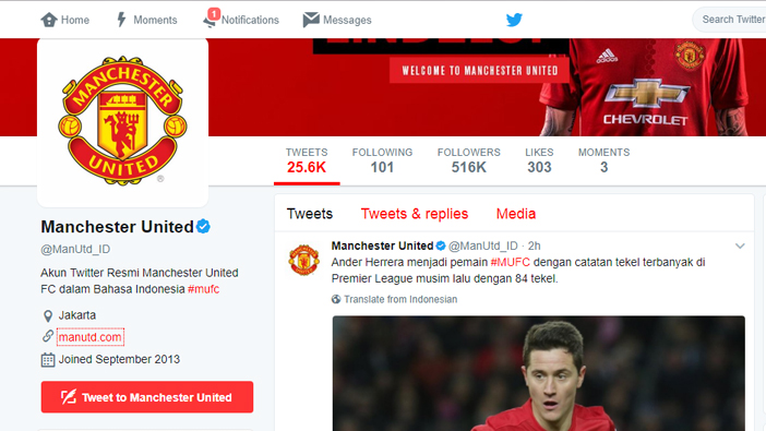 Localised twitter account for Manchester United