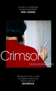 Image of Crimson books jacket featuring a woman in a red shirt smoking a cigarette