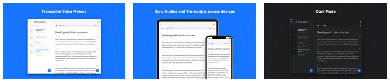 transcribe speech to text screenshot