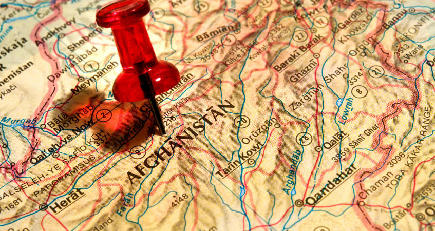 Image of map of afghanistan with a red pin